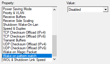 Network Adapter advanced properties screenshot